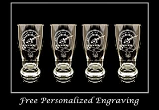 Clan MacRae Scottish Crest Pint Glass Set of 4 - Free Personalized Engraving, Family Crest, Pub Glass, Beer Glass, Custom Beer Glass