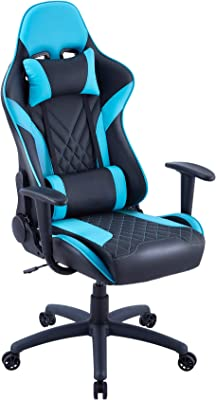 Eureka Ergonomic Video Gaming Chair Office Chair High Back Leather Chair Racing Executive Ergonomic Adjustable Swivel Chair with Headrest and Lumbar Support for Teens and Adult, Black & Blue