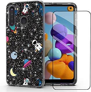 DDTKZC for Samsung a21 case,Galaxy a21 Phone case,Tempered Glass Protector Lustre Pattern-Sparkle 3 in 1 Clear Shockproof ...