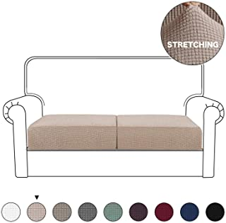 Turquoize Sofa Cushion Furniture Protector Stretch Sofa Seat Slipcover Navy Couch Cushion Covers Non Skid Jacquard Fabric for 2 Seater Loveseat Cushion Cover with Elastic Bottom (Loveseat, Khaki)