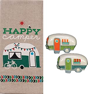 Happy Camper 3 Piece Kitchen Bundle Chambray Towel with Salt and Pepper Shakers