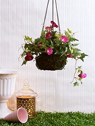 Fourwalls Decorative Polyester Artificial Morning Glory Plant with Hanging Basket (40 cm, Blue, Hanging 23 cm Morning Glory -1580-BLUE)