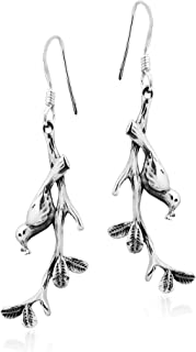 Lovely Bird Perched on a Branch .925 Sterling Silver Dangle Earrings