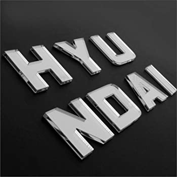 CarMetics Hyundai 3D Letters Stickers Logo Emblem Bonnet Stickers Accessories with Free Chrome Petrol Diesel Stickers for Hyundai Grand i10 - Mirror Finish - 1 Set