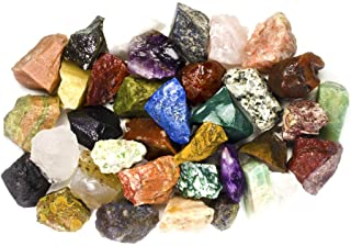 """Hypnotic Gems 6 Pounds of Bulk Rough India Stone Mix - Over 25 Stone Types - Large 1"""" Natural Raw Stones & Fountain Rocks for Cabbing, Tumbling, Lapidary & Polishing and Reiki Healing"""