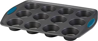Rachael Ray Yum -o! Nonstick Bakeware 12-Cup Muffin Tin With Grips / Nonstick 12-Cup Cupcake Tin With Grips - 12 Cup, Gray