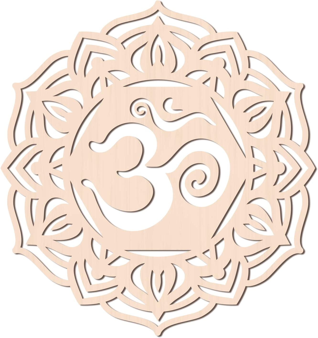 GLOBLELAND 12Inch OM Lotus Wooden Wall Art Crystal Grid Sacred Geometry Home Decor, Laser Cut Wooden Wall Sculpture for Wall Hanging Decor Art Home Decoration