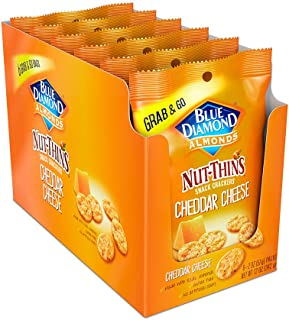 Blue Diamond Almond Nut Thins Cracker Crisps, Cheddar Cheese, 2oz, Single Serve, 6 Count