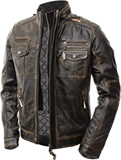 Abbraci Mens Motorcycle Biker Slim Fit Vintage Distressed Brown Cafe Racer Real Leather Jacket