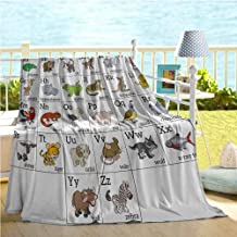 Mademai Educational Throw Blanket,Alphabet Learning Chart with Cartoon Animals Names Letters Upper and Lowercase,Summer Blanket Multicolor 70