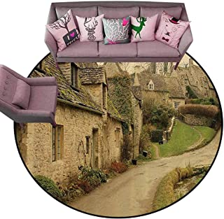 Carpet for Living Room Farm House Decor,British Town with Stone Houses Retro England Countryside Buildings Image,Grey Green Diameter 48