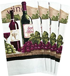 JJ Collection 4 Pack Absorbent Kitchen Dish Towels 15x25 Cotton Poly (Wine)