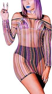 Women Rave Rainbow See Through Mini Dress Lingerie for Dance Festival Clubwear