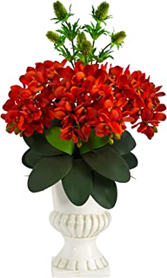 27in. Phalaenopsis Orchid and Thistle Artificial Arrangement in White Urn