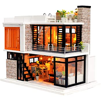 Spilay Dollhouse Miniature with Furniture,DIY Dollhouse Kit Mini Modern Villa Model with Music Box ,1:24 Scale Creative Doll House Best Christmas Birthday Gift for Lovers Boys and Girls(Florence)