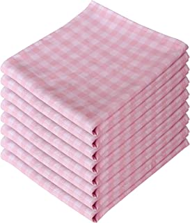 Premium Kitchen Cloth Napkins-Square Washable Cotton Dinner Napkins -16 Inch Pink and White Checkered Soft and Comfortable Cotton Dinner Napkins,8 Pack for Weddings, Parties, Holiday Dinner