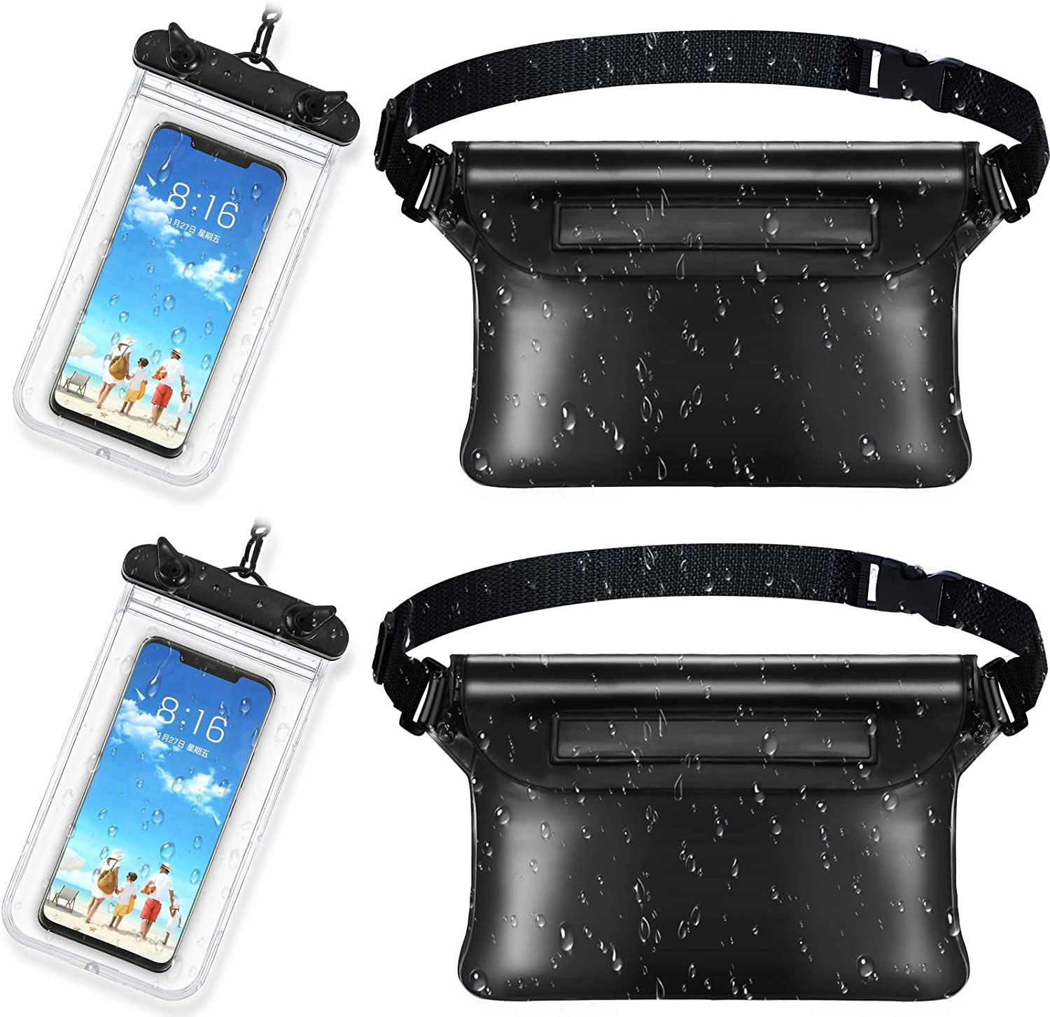 2 Pieces Waterproof Phone Pouch Universal Cellphone Case and 2 Waterproof Fanny Pack with Waist Strap Screen Touchable Dry Bag for Swimming Snorkeling Boating (Clear Black, Black)