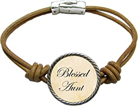 SAS Blessed Aunt Brown Leather Cord Bracelet Jewelry Auntie