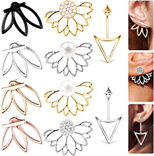 10 Pairs Ear Jacket Stud Lotus Flower Earrings for Women...