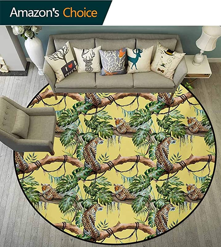 Watercolor Computer Chair Floor Mat Leopards In The Jungle Tropical Scene Tree Branches And Leaves Printed Round Carpet For Children Bedroom Play Tent Diameter 35 Inch Yellow Green Pale Yellow