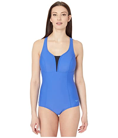 Speedo Solid Touchback One-Piece (Hyper Blue) Women