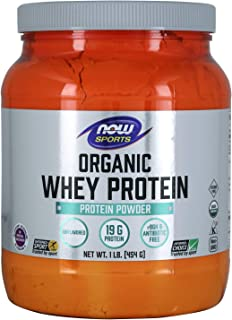 NOW Sports Nutrition, Certified Organic Whey Protein 19 g, Unflavored Powder, 1-Pound