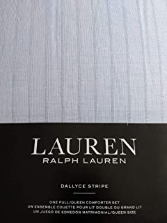 Ralph Lauren Lauren Dallyce Stripes 3 Piece Comforter and Shams Set, Full/Queen, Allure Blue