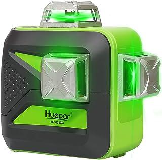 Huepar 3x360° レーザー墨出し器 グリーン 緑色 レーザー クロスライン フルライン照射モデル 大矩 自動補正 高輝度 高精度 ミニ型 3電源方式 充電可能 603CG