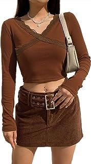 Women V-Neck Crop Tops Long Sleeve Y2k E-Girls Knit T-Shirt Pullover Tee 90s Y2k Blouse 2021 Fashion Streetwear