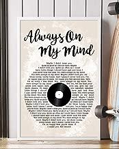 Kodora Decor Always On My Mind Song Lyrics Grunge Vinyl Records Portrait Poster Print Wall Art (12