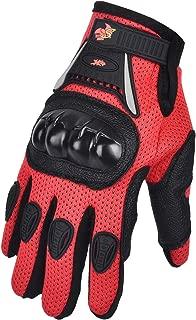 Street Bike Full Finger Motorcycle Gloves ATV Motocross Dirt Bike Off-Road Mountain Bike Gloves (Red, YS)