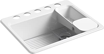"""KOHLER K-8668-5UA2-0 Riverby 27 In. x 22 In. x 9-5/8 In. Undermount Single-Bowl Kitchen Sink with 5 Oversized Faucet Holes, White, 27"""" x 22"""" x 9-5/8"""""""