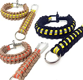Flashfire Supply Firefighter Paracord Survival Bracelets 550 Adjustable D Shackle Turnout Gear Color