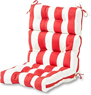 Greendale Home Fashions Indoor/Outdoor High Back Chair Cushion, Cabana Red