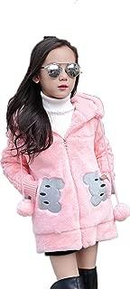 Kids Girls Winter Warm Knited Fur Cartoon Coats Hooded Snowsuit Jackets Outerwear