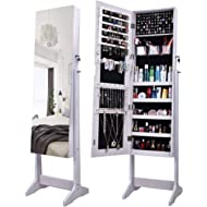 AOOU Jewelry Organizer Jewelry Armoire,Full Length Mirror Lockable Jewelry Cabinet, with Large...