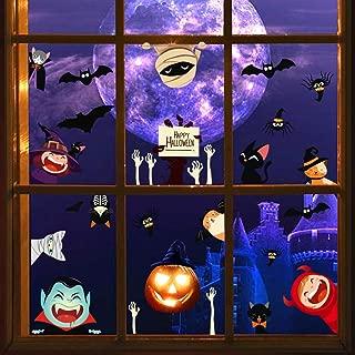 Halloween Pumpkin Cartoon Wall Decals, Terror Mummy Hand Bone Stickers for Door, Animal Cats Spider Bats Wall Art for Kids, Party Window Cling Decoration