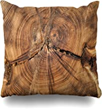 GOU39-WCT Funda de Almohada Decorativa Cojín Cuadrado 18 x 18 Pulgadas Sección Transversal Tronco de árbol Que Muestra Crecimiento Funda de Almohada de decoración del hogar