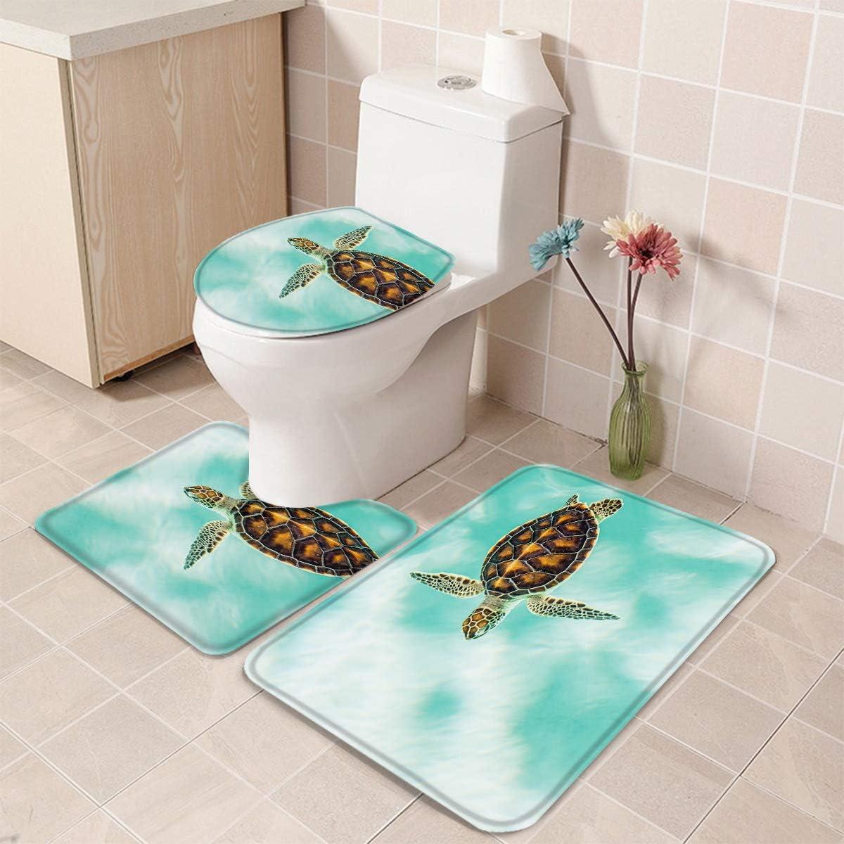 Pedestal Mat and Toilet Lid Cover,Non-Slip Bathroom Floor Mat Queenker 3 Pieces Bath Rug Set Toilet Seat Cover Shark and Starfish Print Contour Rug