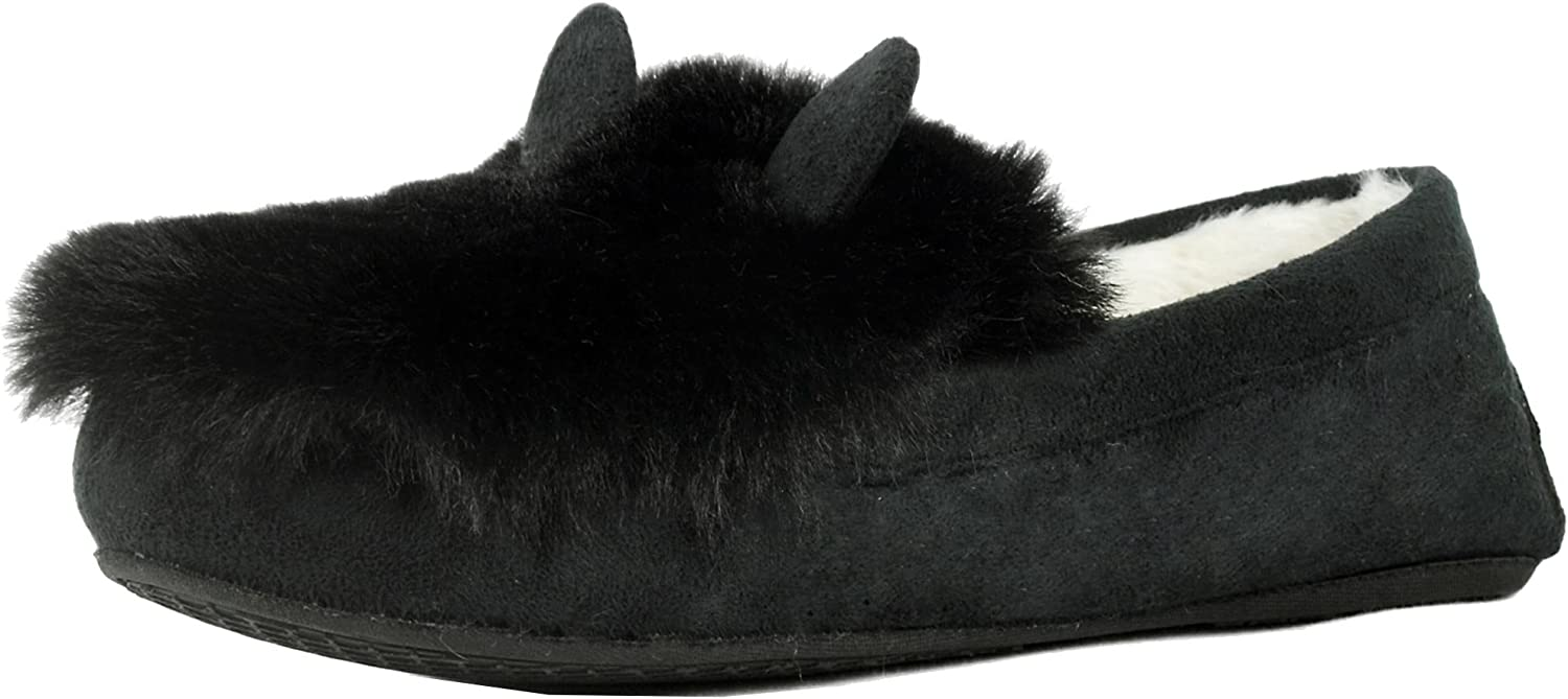 Refresh Footwear Women's Cozy Fleece Lined Warm Winter Cat Ear Animal Slipper