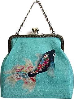 2WAYエポシェ【黒金魚】Pポーチ付 オリジナルプリント&ハンドメイド少数販売品