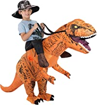 GUDEEP T-Rex Riding Costumes for Kids Inflatable Dinosaur Costume Fancy Dress for Halloween Cosplay Party Funny Clothes Brown