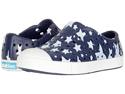 Native Kids Shoes Jefferson Stars and Stripes Print (Toddler/Little Kid) (Regatta Blue/Shell White/Multi Stars) Kid