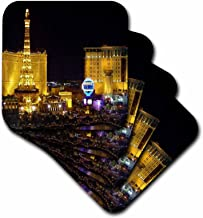 3dRose CST_4396_1 Las Vegas Soft Coasters, Set of 4