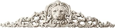 Design Toscano NG315550 Remoulage Lion Wall Sculpture Door Decor Pediment, 38 Inch, Polyresin, Antique Stone