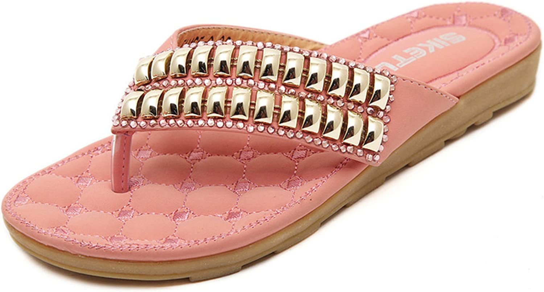 DQQ Women's Beaded Flip Flop Flat Sandal