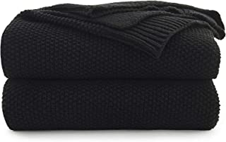 Black Cotton Cable Knit Throw Blanket for Couch Sofa Chair Bed Home Decorative, 2.5 Pounds 50 x 60 Inch Woven Throw Blankets with Bonus Laundering Bag