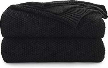 Black Cotton Cable Knit Throw Blanket for Couch Sofa Chair Bed Home Decorative, 2.5 Pounds 50 x 60 Inch Woven Throw Blankets