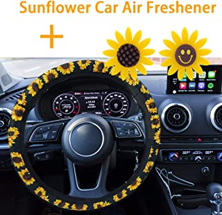 FEBSNOW Sunflower Steering Wheel Cover - Handmade Stretch-on Fabric Steering Wheel Cover Universal Fit Cute and Fashionable Sunflower Car Accessories for Women
