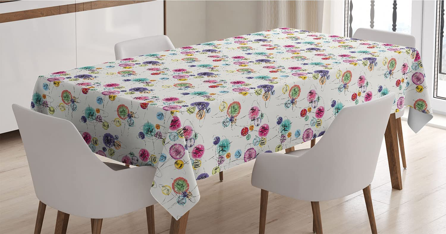 Lunarable Paint Atlanta Mall Tablecloth Paintbrush Lines Sketchy Max 62% OFF Style Circl